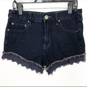 Free People ✌🏻 Festival Dark Wash Lace Shorts 24